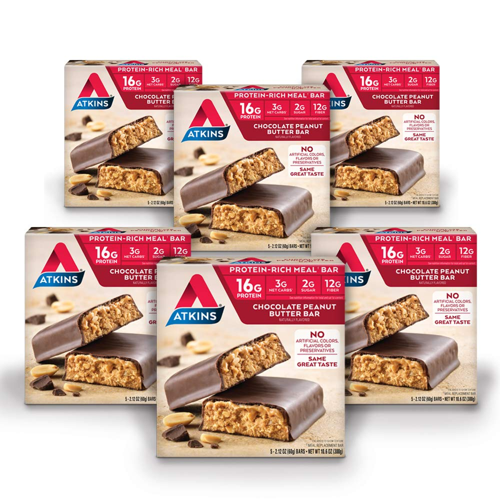 Atkins Protein-Rich Meal Bar, Chocolate Peanut Butter, Keto Friendly, 30 Count (Value Pack) by Atkins