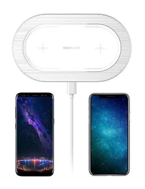 Cargador inalámbrico, ICONFLANG [5W] Cargador inalámbrico doble para iPhone X iPhone 8 Plus iPhone 8 Samsung Note8 S8 S8 Plus S7 S7 Edge S6 S6 Edge y ...