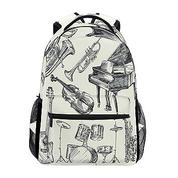 Musical Instruments Mochila impermeable para la escuela, bolsa de hombro, mochila para gimnasio,
