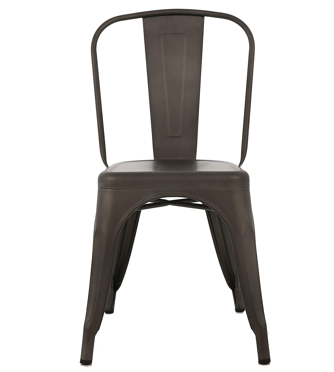 BTEXPERT Outdoor Stackable Bistro Cafe Dining Side Chairs Set of 4 Metal Distressed Rustic Chic Indoor, Antique