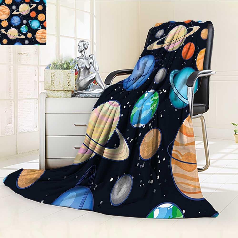 Throw Blanket Art Solar System with Planets Mars Mercury Uranus Jupiter Venus Print Warm Microfiber All Season Blanket for Bed or Couch