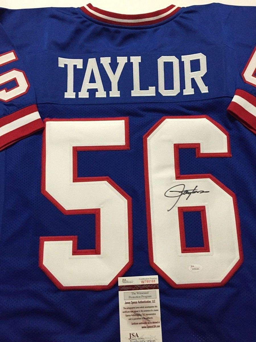 Autographed/Signed Lawrence Taylor New York Blue Football Jersey JSA COA