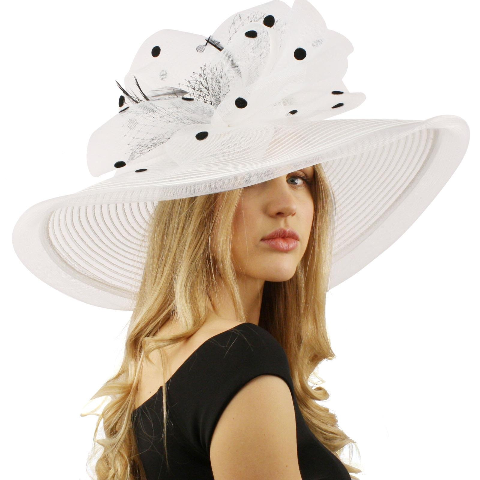 Graceful Simamay Polka Dot Floral Kentucky Derby Floppy 7'' Brim Dress Hat White