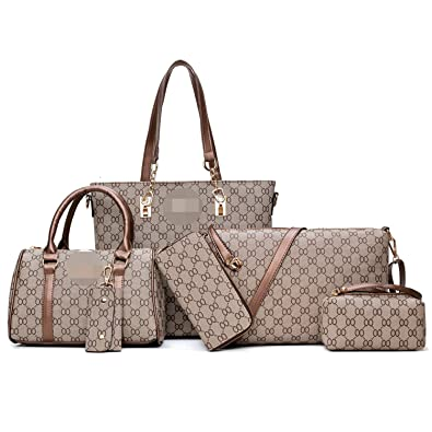 32012cdb8f7d 2018 New Women Shoulder Bags PU Leather Handbags Fashion Female Purse  Six-Piece Set Designer
