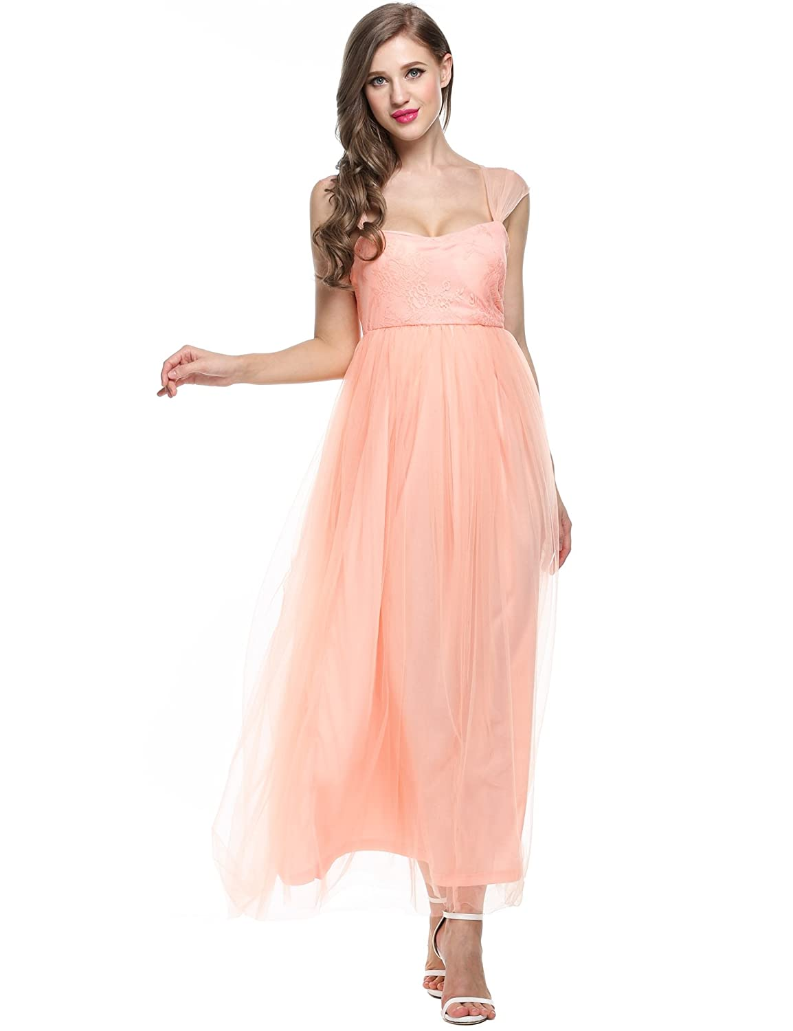 ANGVNS Lace Dress Sweetheart Bridesmaid Dress Long Evening Gown