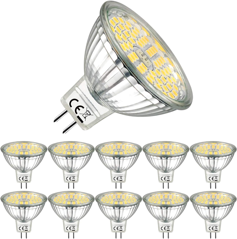 EACLL Bombillas LED GU5.3 4000K Blanco Neutro 5W Fuente de Luz 500 Lúmenes Equivalente 50W Halógena. 12V Sin Parpadeo MR16 Focos, 120 ° Spotlight, Blanca Neutra Natural Lámpara Reflectoras, 10 Pack