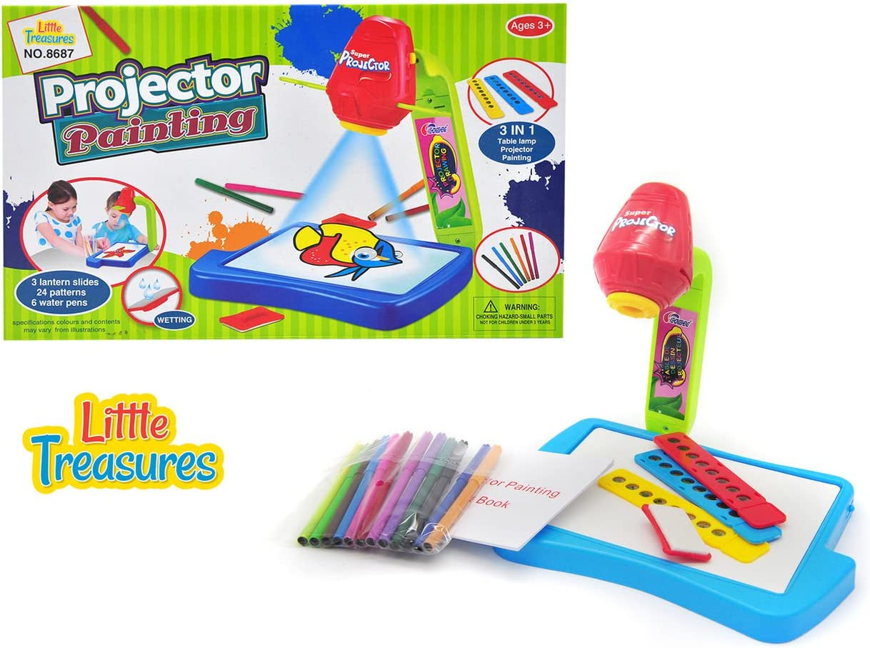 Little Treasures Projector Learning/Drawing Painting Set, Projecting Images to Help Kids Trace and Draw Educational Fun
