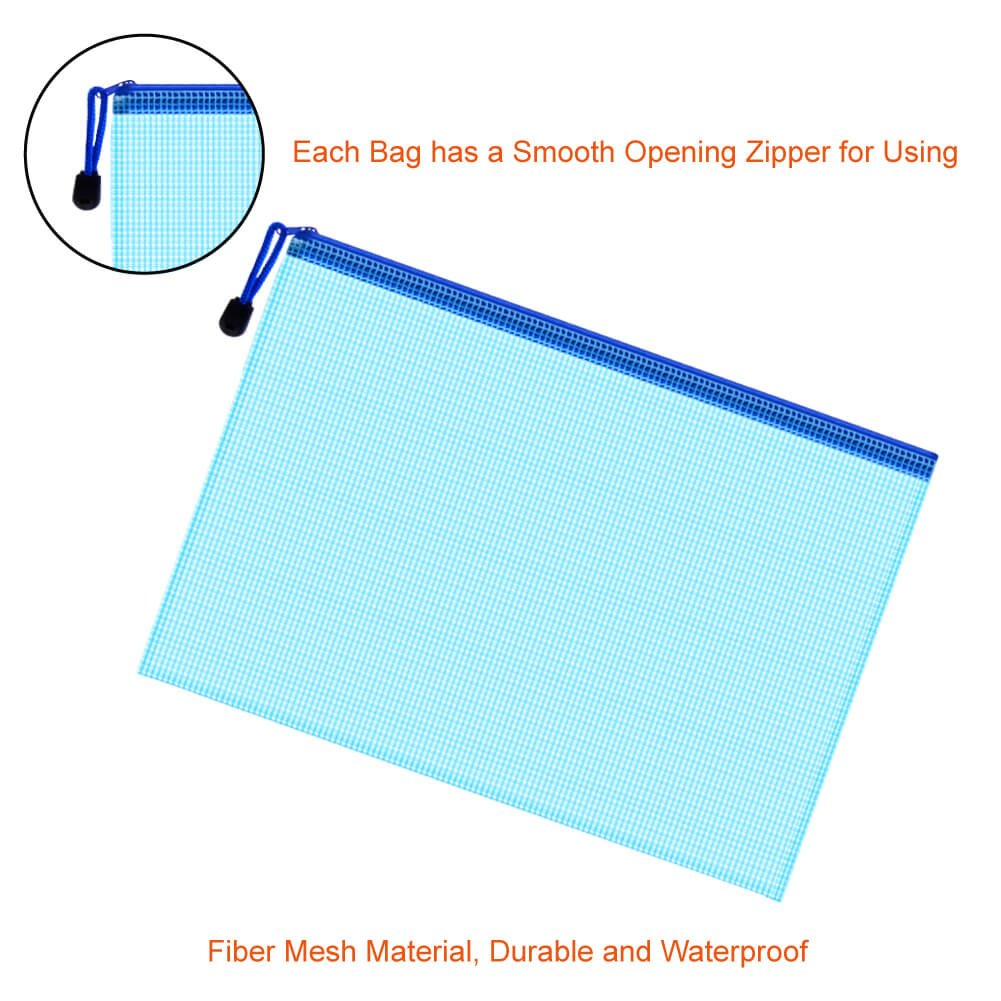"13/"" x 9.4/"" Zip up A4 Paper Files Memo Document Bag Clear Pink 3 Pcs"