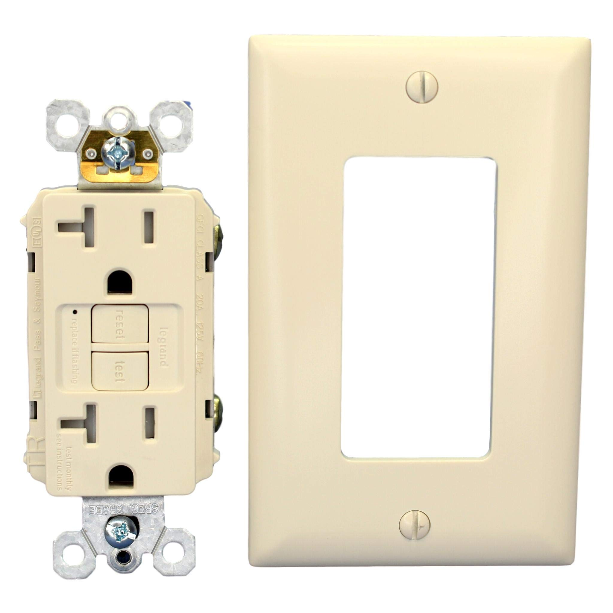 Self-Test Tamper-Resistant Weather-Resistant GFCI Receptacle 20A 125Vac in Light Almond