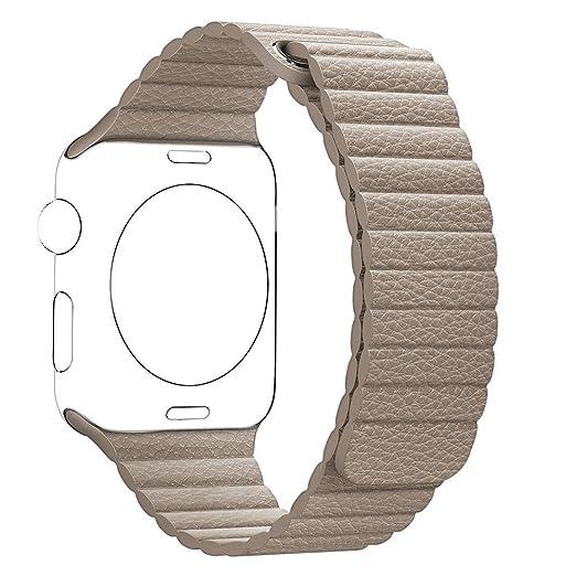 41 opinioni per Cinturino Apple Watch,SUNDAREE 38mm Qualità Superiore Pelle Magnetico Loop Strap
