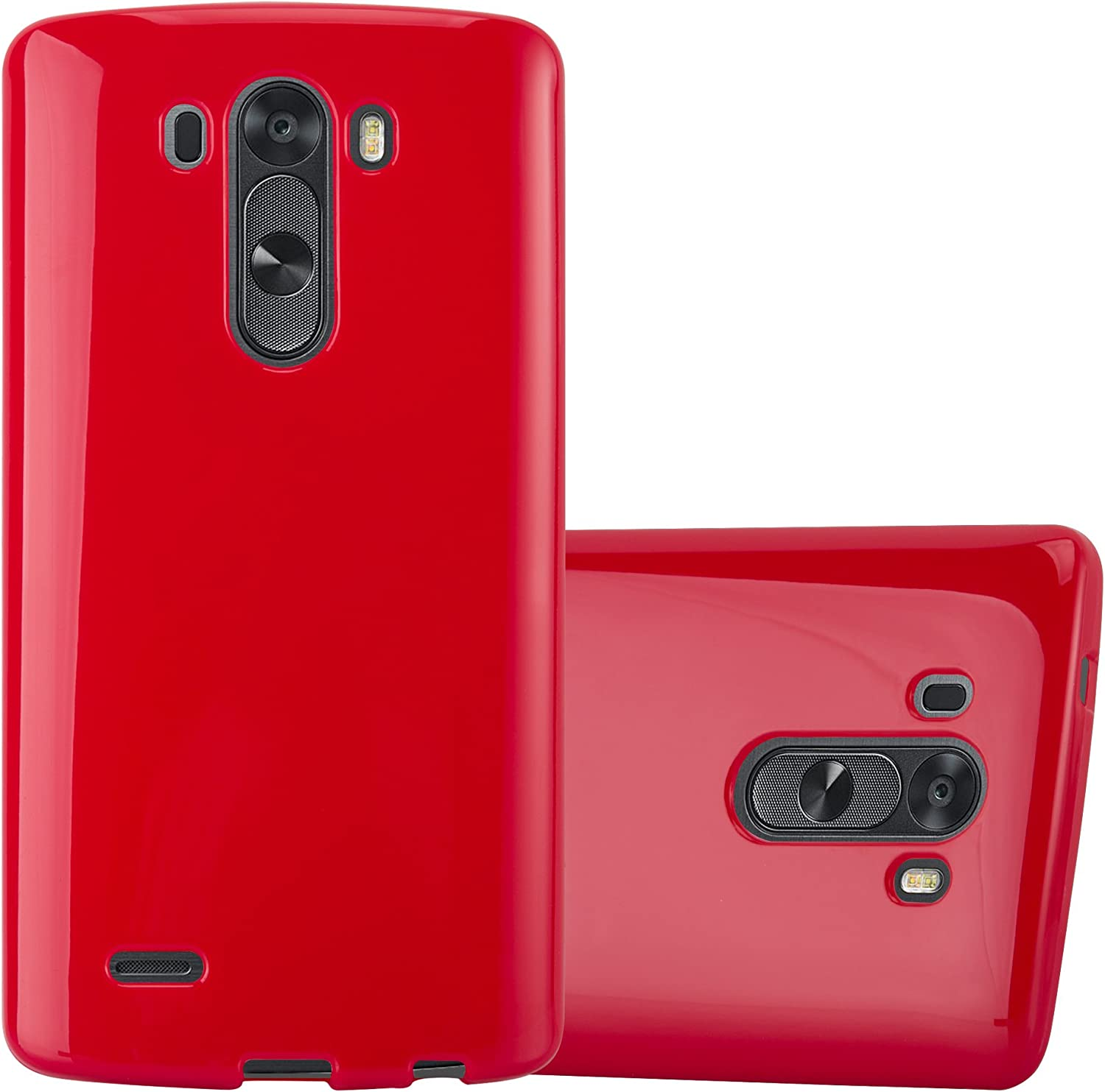 Cadorabo Case Compatible with LG G3 in Jelly RED - Shockproof and Scratch Resistant TPU Silicone Cover - Ultra Slim Protective Gel Shell Bumper Back Skin