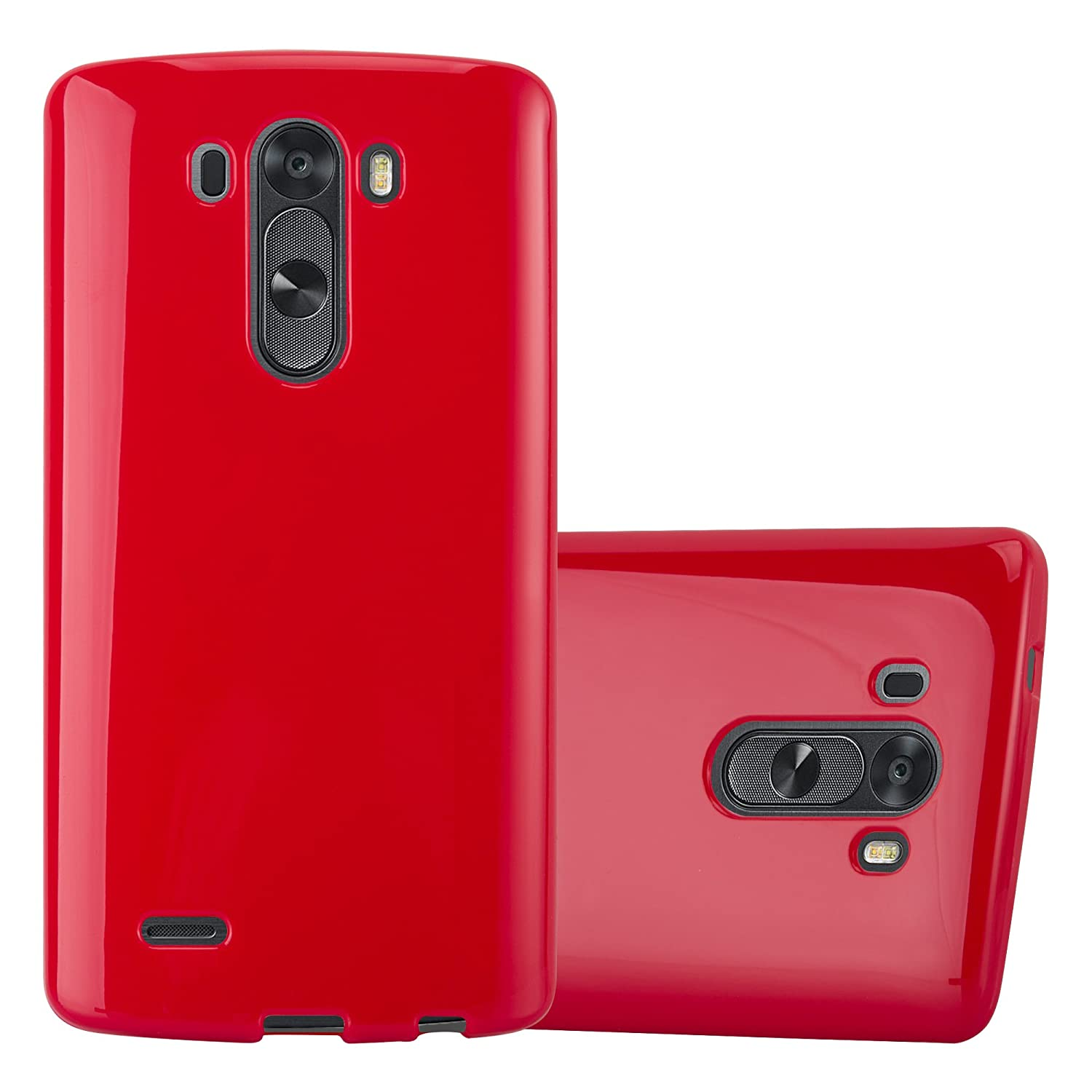 quality design 3e5e9 4ac85 Cadorabo Case Works with LG G3 in Jelly RED – Shockproof and Scratch  Resistant TPU Silicone Cover – Ultra Slim Protective Gel Shell Bumper Back  ...