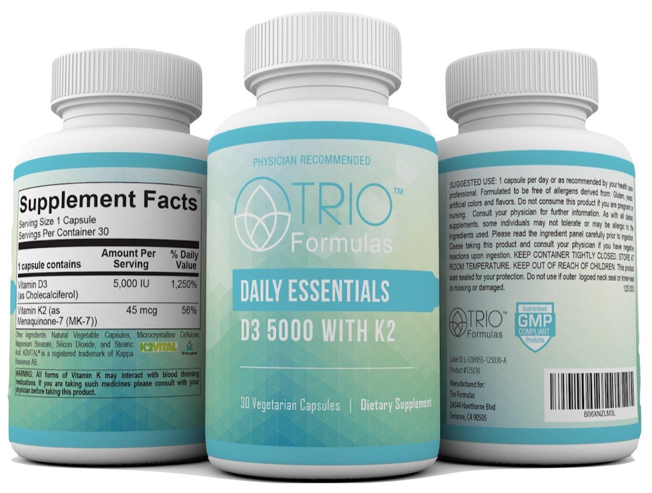 niska cena popularne sklepy zaoszczędź do 80% Details about Daily Essentials Vitamin D, D3 5000 IU With K2 (MK7)  Supplement for Strong Bones