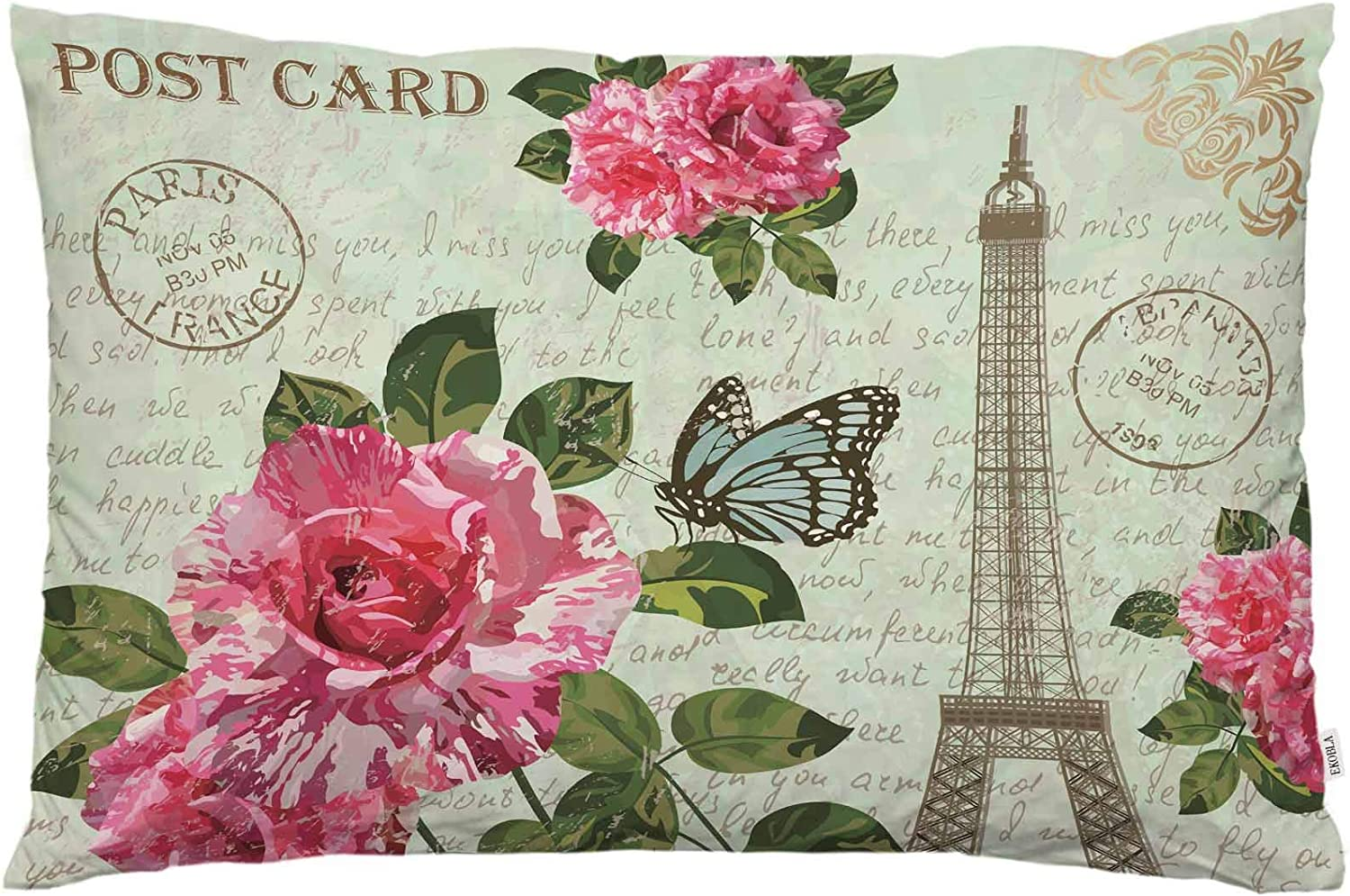 EKOBLA Throw Pillow Cover Eiffel Tower Vintage French Postcard Love Paris Romantic Flowers Butterfly Decor Lumbar Pillow Case Cushion for Sofa Couch Bed Standard Queen Size 20x30 Inch