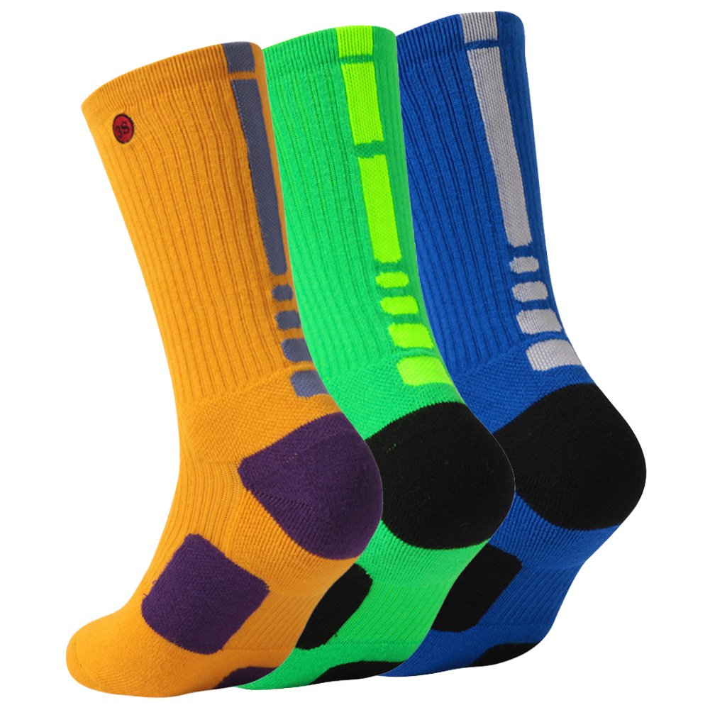 3street SOCKSHOSIERY メンズ B0786BX7D8 Large|3 Pairs Yellow Blue Green 3 Pairs Yellow Blue Green Large
