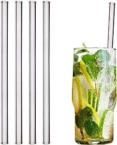 HALM Pajitas de cristal reutilizables ecológicas - 4 piezas de 20 cm + cepillo de limpieza ecológico - apto para lavavajillas - Sostenible - Pajitas de vidrio para cóctel, batido, smoothie