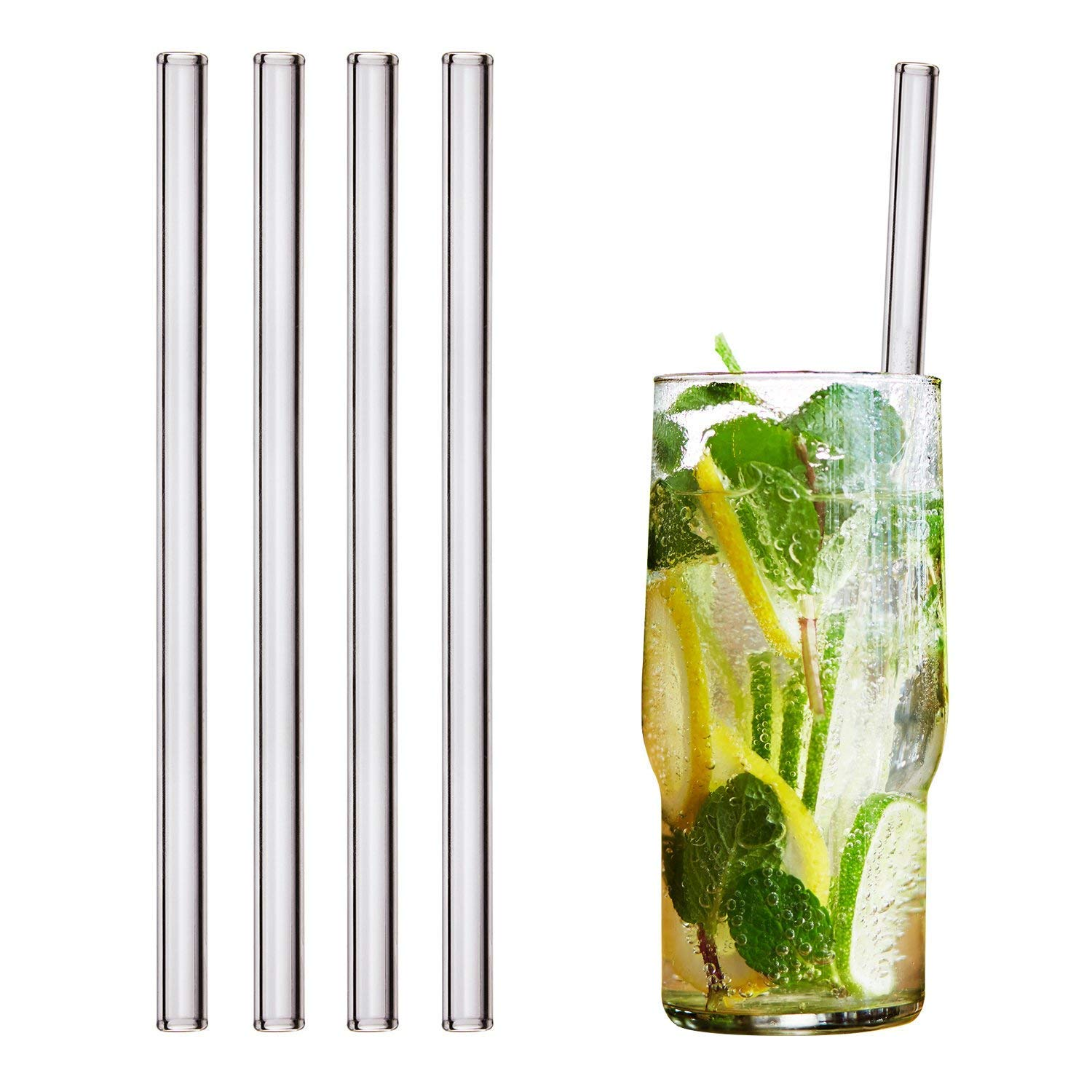 HALM Glass Straws - 4 Reusable Drinking Straws + Plastic-Free Cleaning Brush - Made in Germany - Dishwasher Safe - Eco-Friendly - 20 cm (8 in) x 0.9 cm - Straight - Perfect for Smoothies, Cocktails