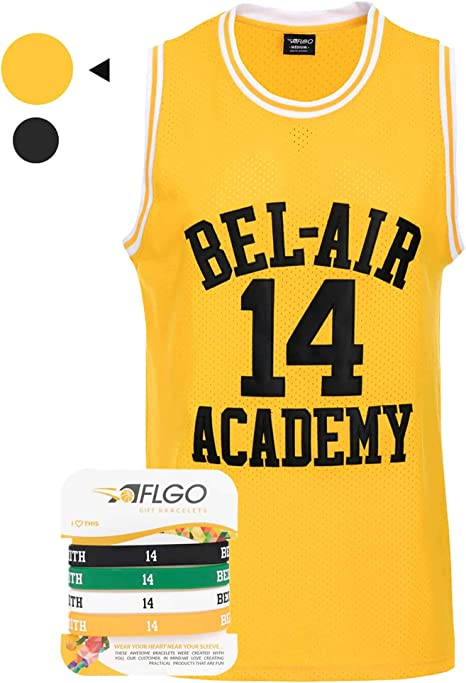 Hip Hop Clothing for Party cct Smith #14 Bel Air Academy Yellow Basketball Jersey S-XXL Stitched Letters and Numbers