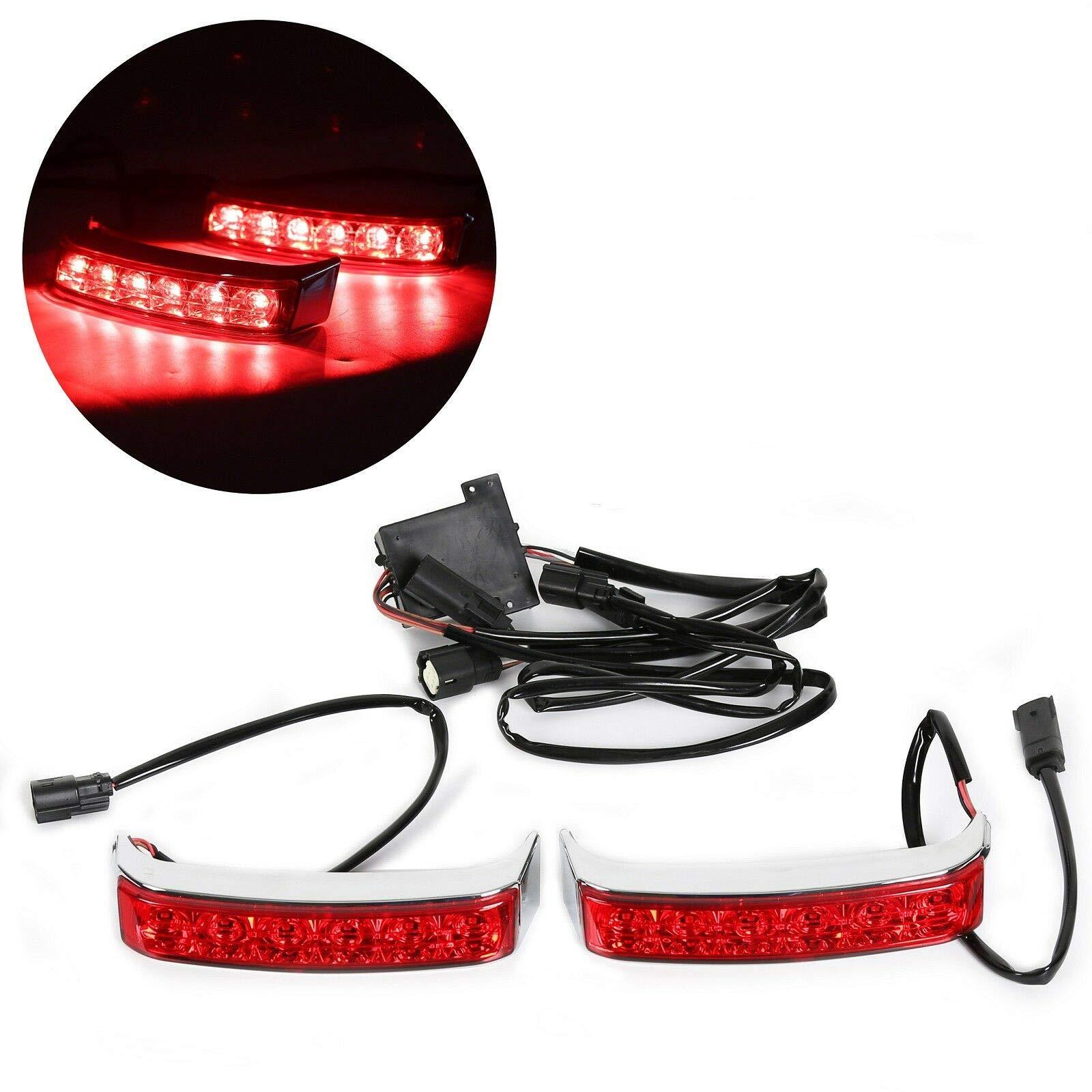 OXMART Saddlebag Tail Lights LED Housing Taillights Lamp For Harley Touring Street Glide Road King 2014-2019 14-19(Chrome Housing/Red Lens) by OXMART