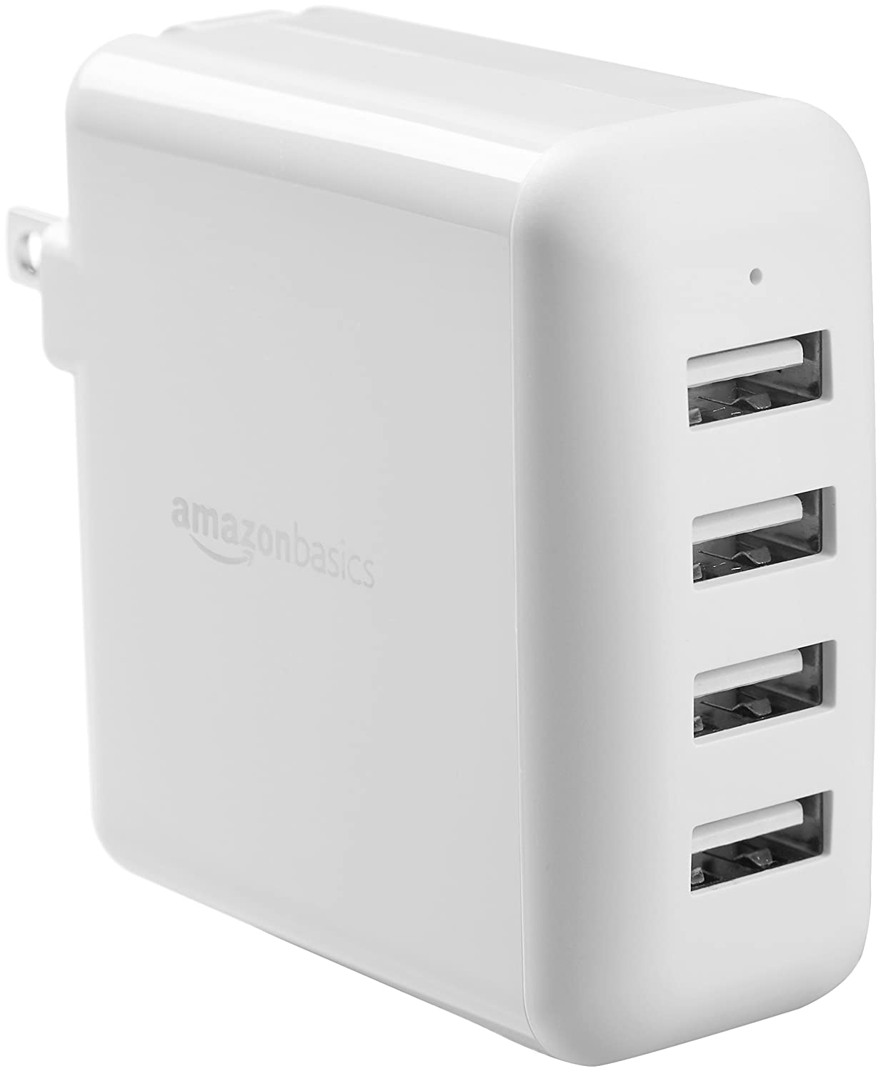AmazonBasics 40W 4-Port Multi USB Wall Charger, White
