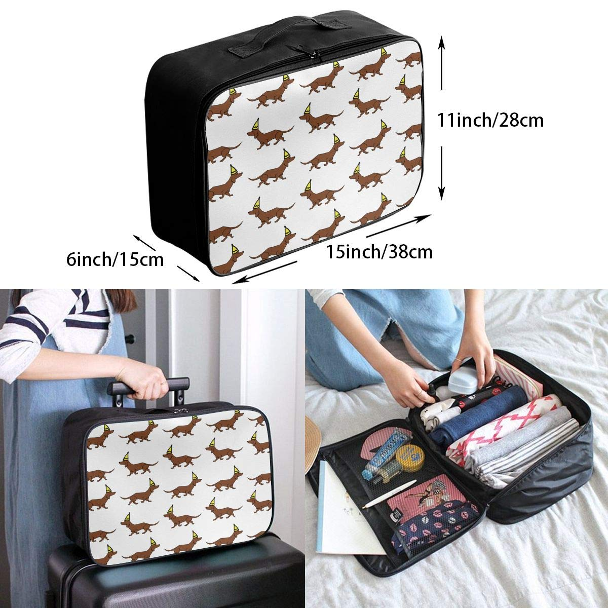 WONDERMAKE Dachshund Hot Air Balloon Dogs Luggage Lever Bag Travel Lightweight Waterproof Foldable Storage Carry Luggage Duffel Tote Bag