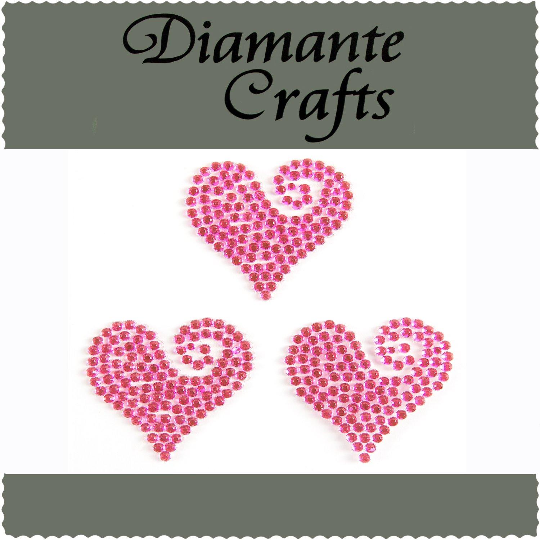 3 Hot Pink Diamante Heart Swirls Vajazzle Rhinestone Gems - created exclusively for Diamante Crafts