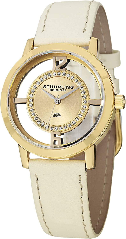 Stuhrling Original Women s 388L2.SET.02 Winchester Tiara Analog Swiss Quartz Champagne Leather Watch with Interchangeable Black Band