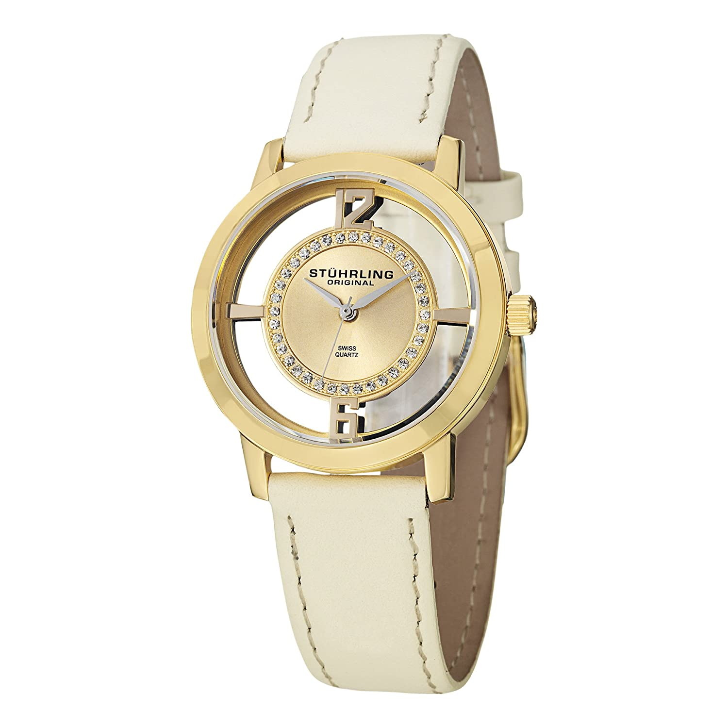 Stuhrling Original Women s 388L2.SET.02 Winchester Tiara Analog Swiss Quartz Champagne Leather Watch with Interchangeable Black Band