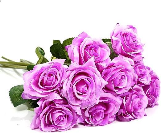 Yosoo 10 Pcs Rose Artificielle Fleurs Multicolores Comme Une