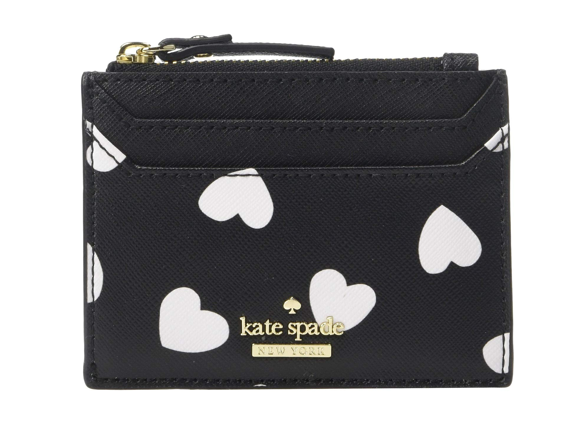 Kate Spade New York Women's Cameron Street Hearts Lalena Card Case, Black/Cream, One Size