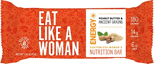 Eat Like A Woman, Plant Based Protein Bar, Gluten Free Bars w Peanut Butter, Organic Ingredients, Paleo Friendly, Soy Free, Dairy Free, Peanut Butter Ancient Grains, 12 Pack