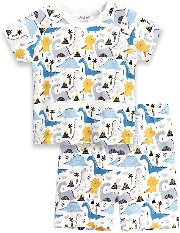 Kids Pajamas Dinosaur Children Pajamas for Boys Girls Unisex Cotton Pjs Summer Sleepwear Set Size 2T 3T 4 5 7 8