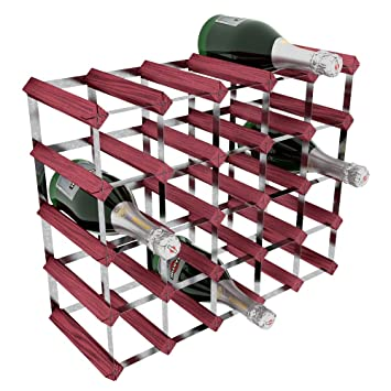 Rta Galvanised Steel Rosewood Pine 25 Bottle Wine Rack Brown