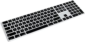 Masino Silicone Keyboard Cover for Apple Magic Keyboard with Numeric Keypad MQ052LL/A (A1843) US Layout Ultra Thin Protector Skin (for Magic Keyboard (MQ052LL/A), Black)