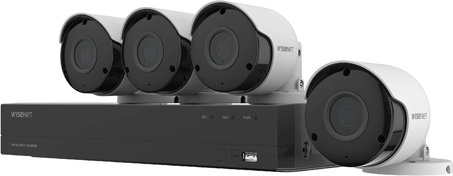 Wisenet SDH-B84045BF 8 Channel Super HD DVR Video Security System with 1TB Hard Drive and 4 5MP Weather Resistant Bullet Cameras SDC-89445BF
