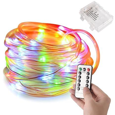Guirnalda de luz LED LEDGLE con mando a distancia con 100 chips de LED, 8