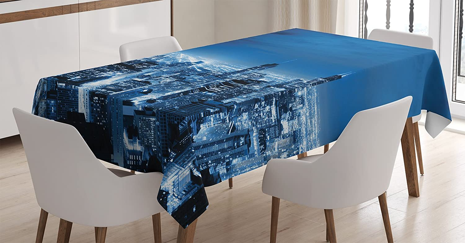 Amazon Com Ambesonne United States Tablecloth Aerial View Of Chicago Finance Business City Horizon Dusk Structure Tourism Dining Room Kitchen Rectangular Table Cover 60 X 84 Blue Black Home Kitchen
