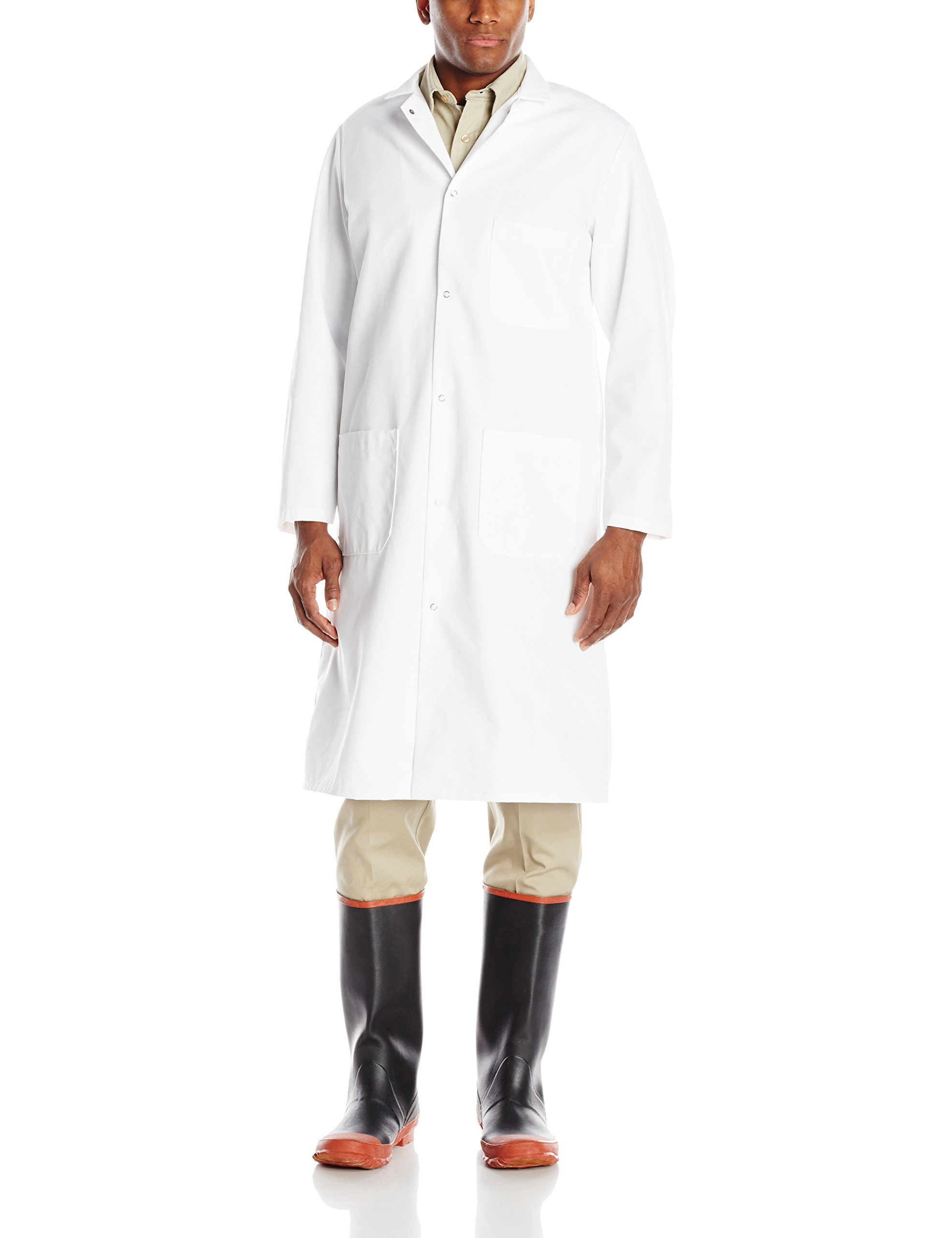 Red Kap Men's Gripper-Front Butcher Frock, White, X-Large