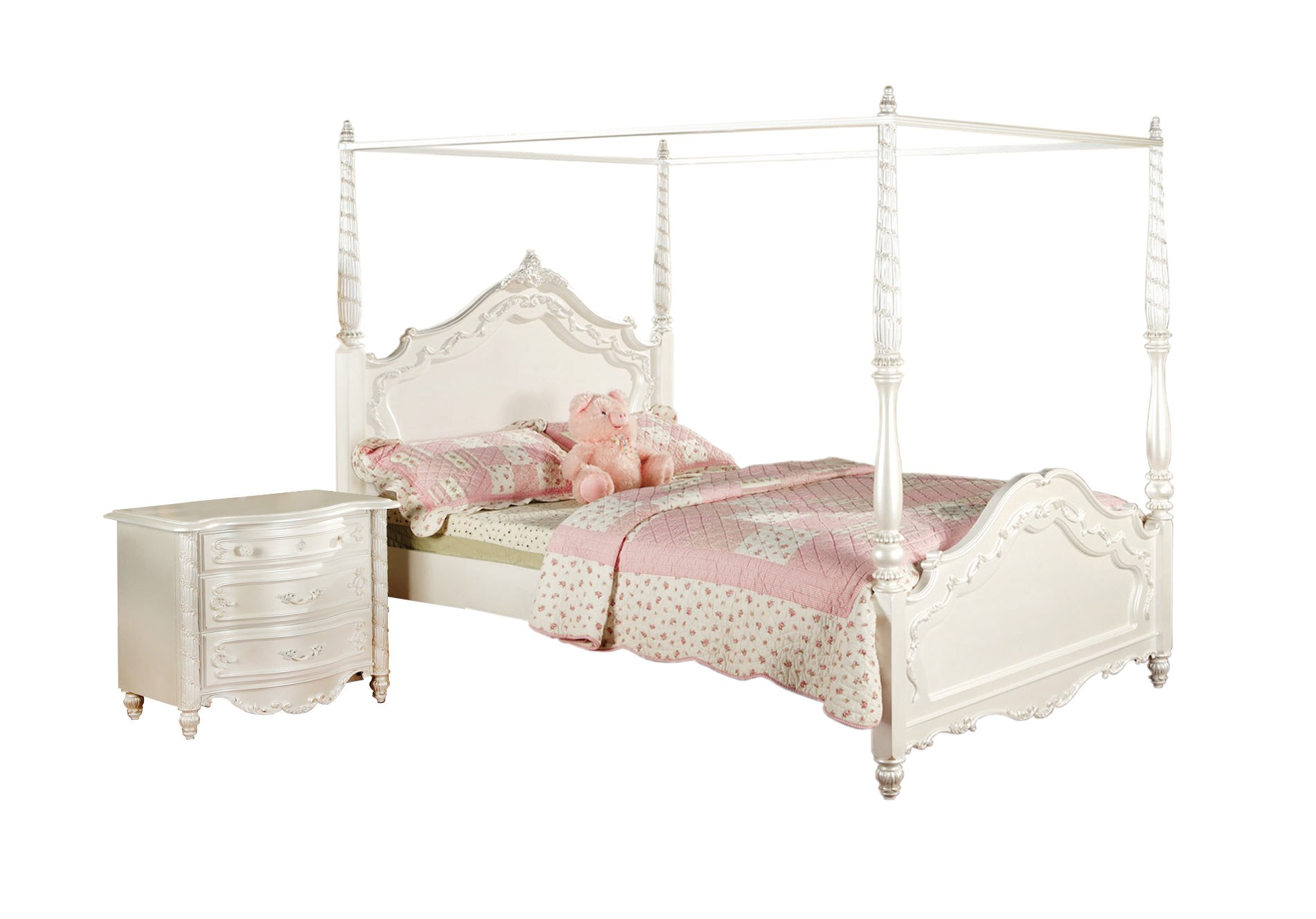 Furniture of America Nathalia Fairy Tale Style 2-Piece Canopy Bed Set, Full, Pearl White Finish