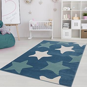 Moderner Kinderzimmer Teppich für das Kinderzimmer Pastel Öko Tex 100  zertifiziert INP-5813-blau sterne 120x170 cm