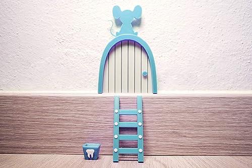 Ratoncito Pérez puerta Celeste a su casita con escalera y cajita para diente. HECHO EN ESPAÑA: Amazon.es: Handmade