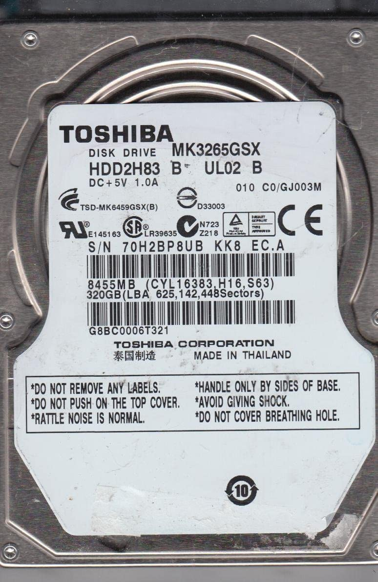 MK3265GSX Toshiba 320GB SATA 2.5 Hard Drive C0//GJ003M HDD2H83 B UL02 B
