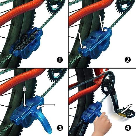 Catene Facili e veloci Pulisci Spazzola pulitrice Manutenzione Kit di Pulizia per Bici da Strada Bicicletta Ciclismo Mountain Bike INTVN pulisci Catena Bici