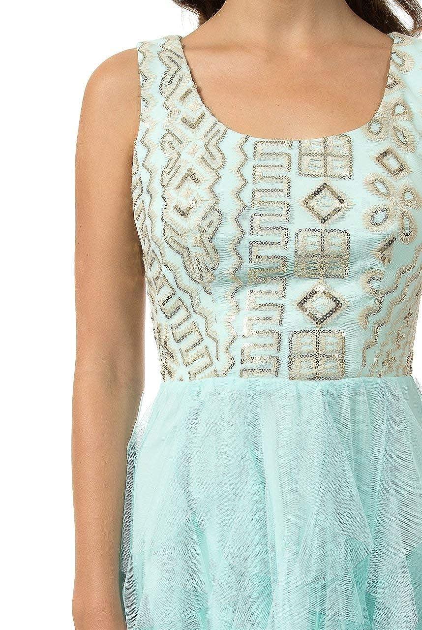 Teeze Me Juniors Sleeveless Embroidered Sequin Top Corkscrew Skirt Dress