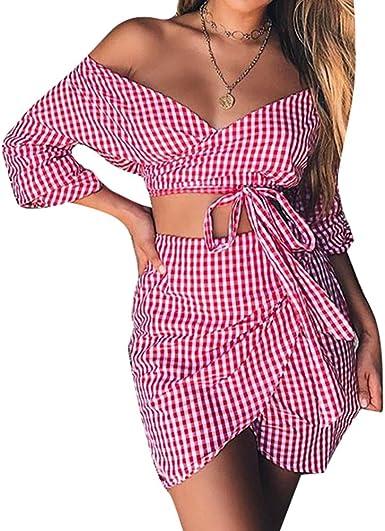 Señoras 2 Piezas Vestido Top Sexy Fuera del Hombro Camisa ...