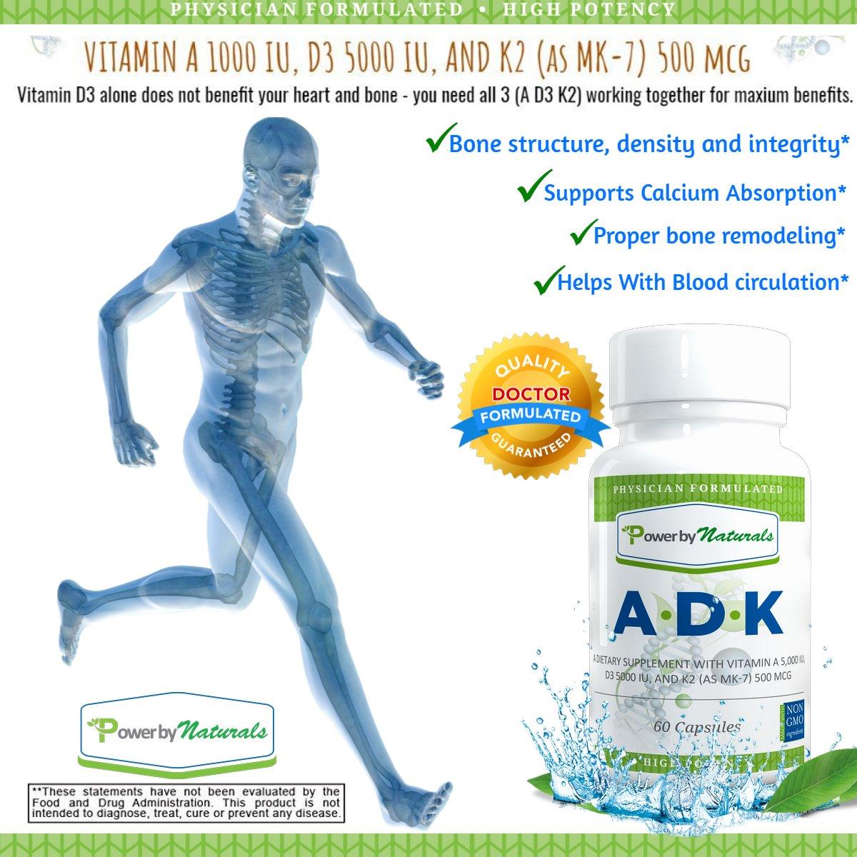 Amazon.com: Vitamin ADK ~ High Potency [ Vitamin A 5000 iu | D3 5000 iu| K2 (as MK-7) 500mcg ] Supplement For Bone Strength and Heart Health, Dr. Formulated ...