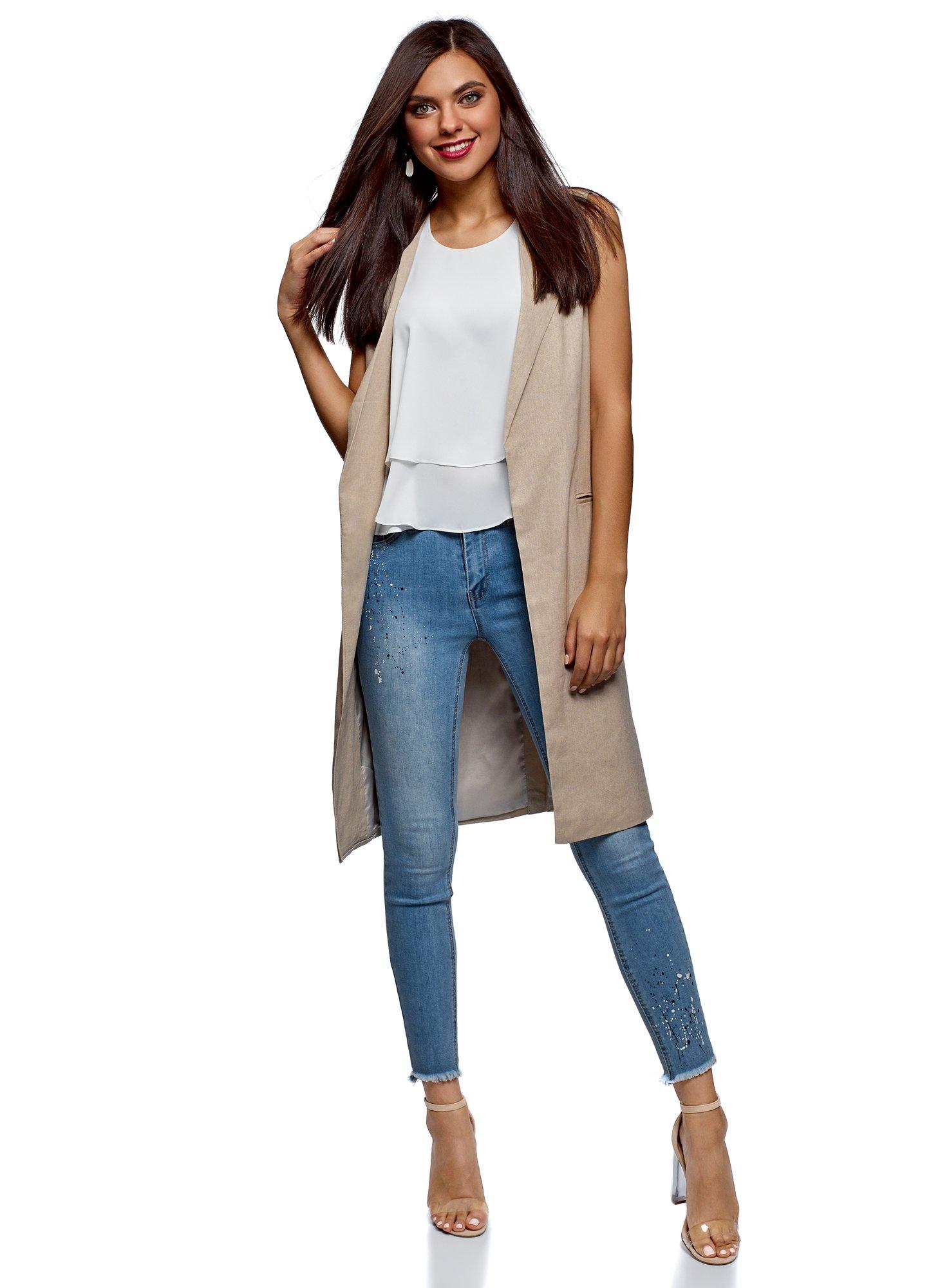 oodji Collection Womens Long Linen Vest, Beige, US 8 / EU 42 / L
