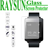RAYSUN LG G Watch W100 Tempered Glass Screen Protector 0.3mm Real Tempered Glass 9H Hardness Shatterproof High Definition Giftbox Packge (LG G Watch W100)