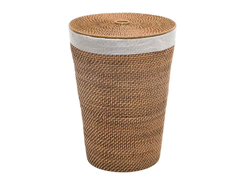 Kouboo 1030092 Laguna Round Rattan Hamper with Liner - Diameter 14 inches x 19 inches tall Doubles as waste basket and can accommodate a 13 gallon trash bag instead of the Liner Hand woven from rattan - laundry-room, hampers-baskets, entryway-laundry-room - 71EQvgrymcL -