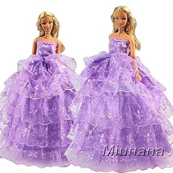 Miunana 1 Vestido Princesa Ropa Vestir Fiesta para Muñeca Barbie - Violeta